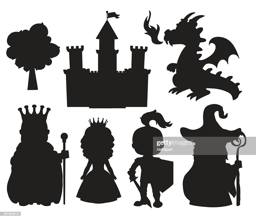 Vector set of silhouettes fairy tale element icons.