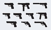 Vector set of silhouettes of modern pistols
