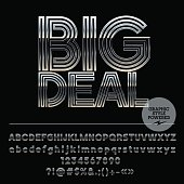 Vector set of silver Alphabet letters with text Big Deal