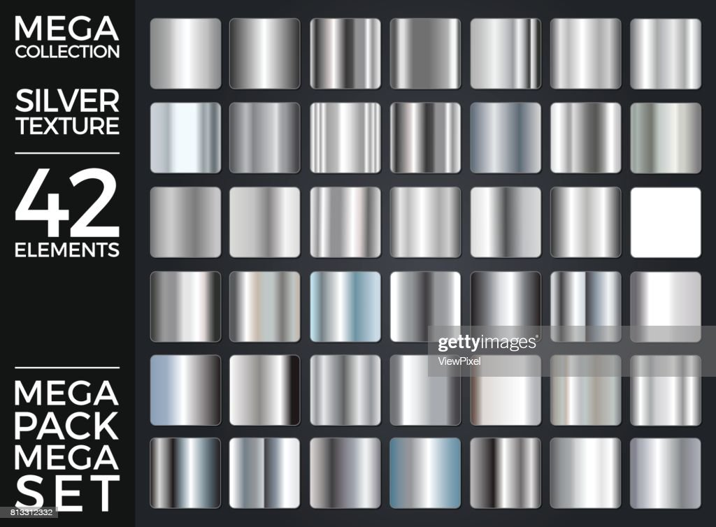 Vector Set of Silver Gradients, Silver Squares Collection, Textures Group