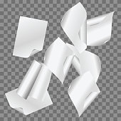 Vector set of simple flying papers on transparent background.