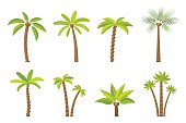 Vector set of simple palm trees.