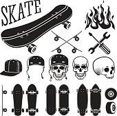 Vector set of skateboarding designer elements. Skates and flames, skull