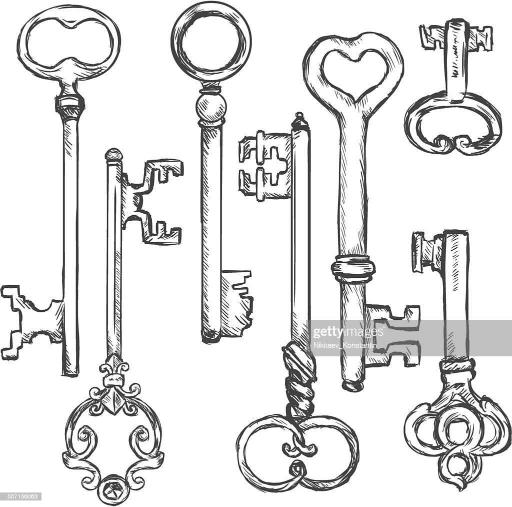 Vector Set of Sketch Antique Keys.