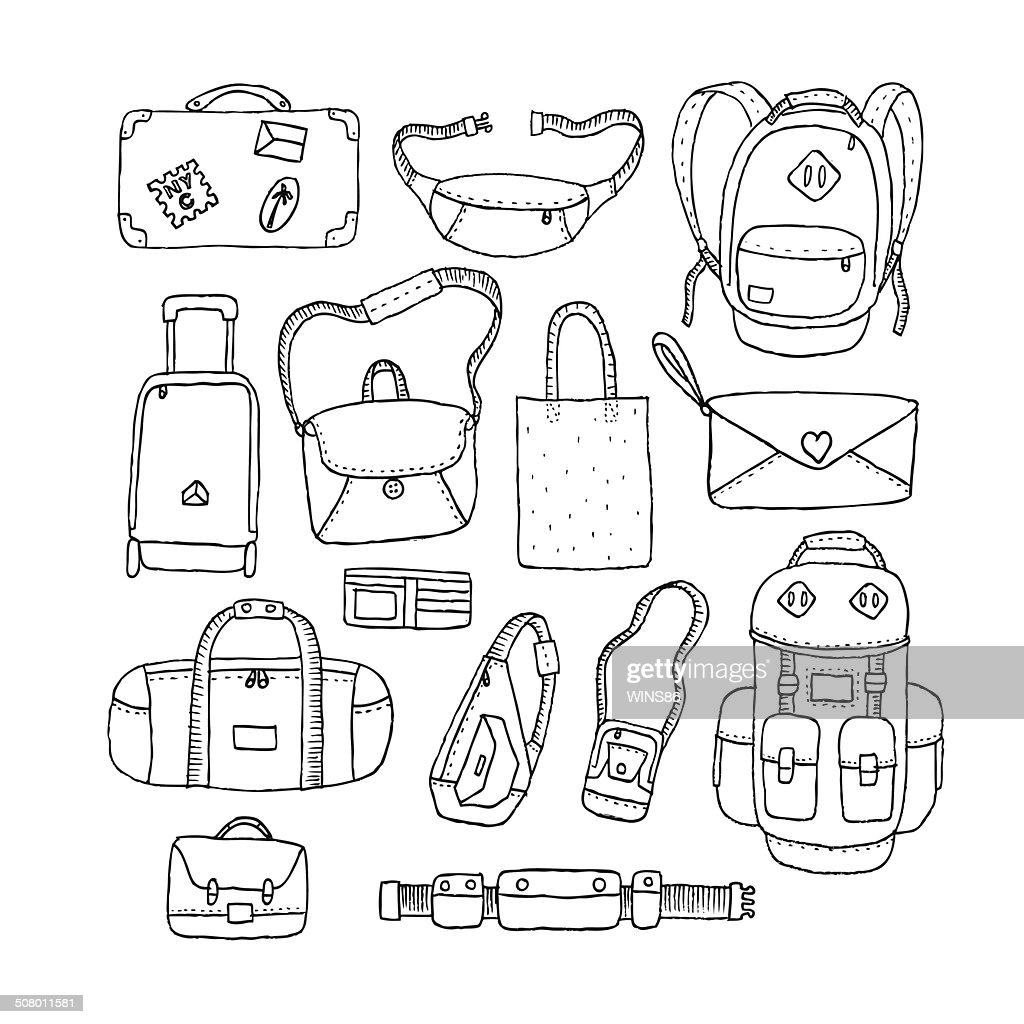 Vector Set of Sketch Bags. Isolated.