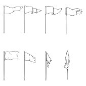 Vector Set of Sketch Flags on Flagpoles