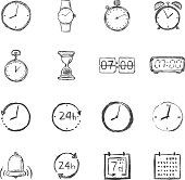 Vector Set of Sketch Time Icons