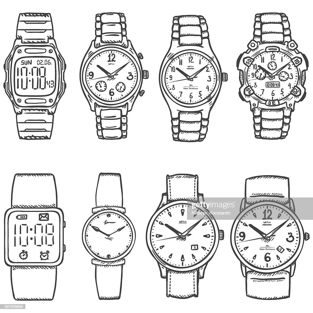 Vector Set of Sketch Wrist Watches
