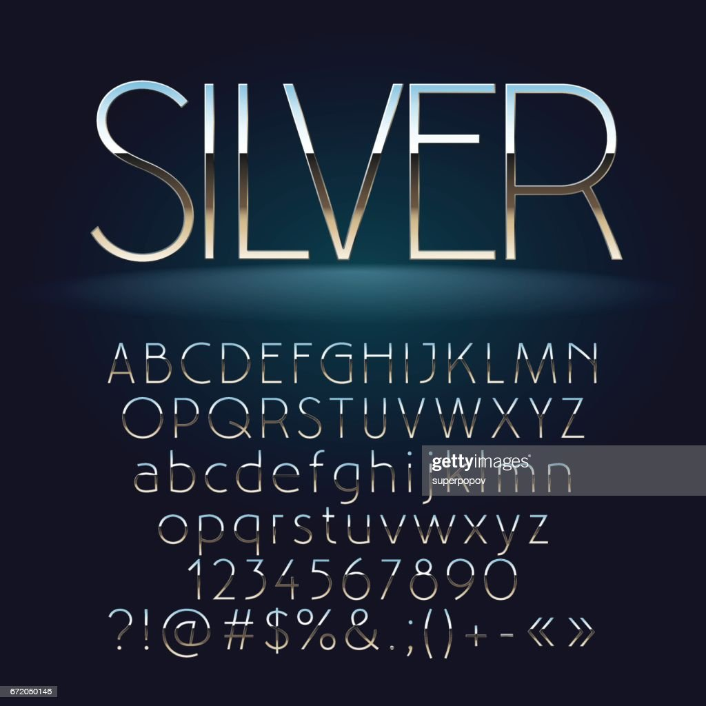 Vector set of slim silver letters, numbers and symbols