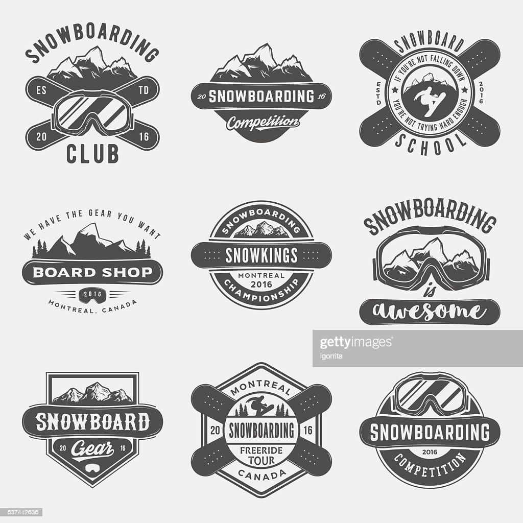 vector set of snowboarding logos, emblems and design elements