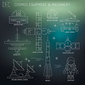 Vector set of space equipment, machinery.