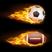 Vector set of sports burning balls, balls for soccer and American football on fire in a realistic style