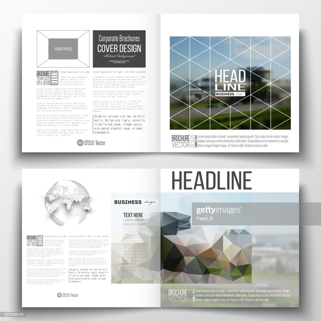 Vector set of square design brochure template. Colorful polygonal background