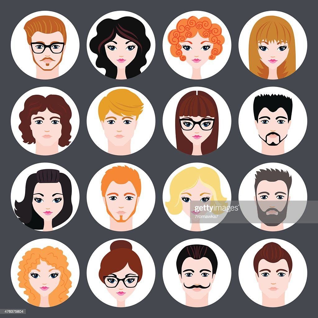 Vector set of stylish avatars of girls and guys