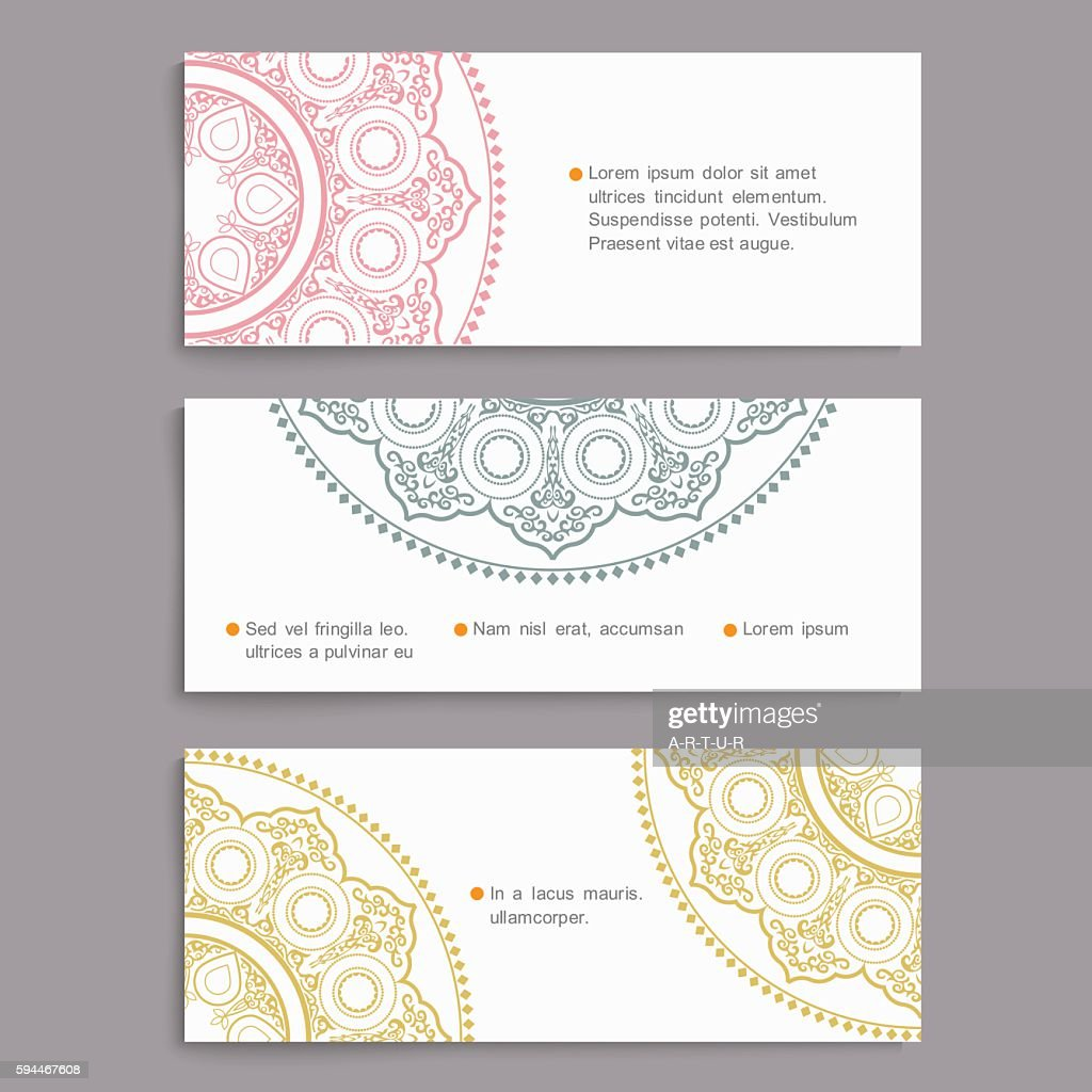 Vector set of stylish cards in Oriental style