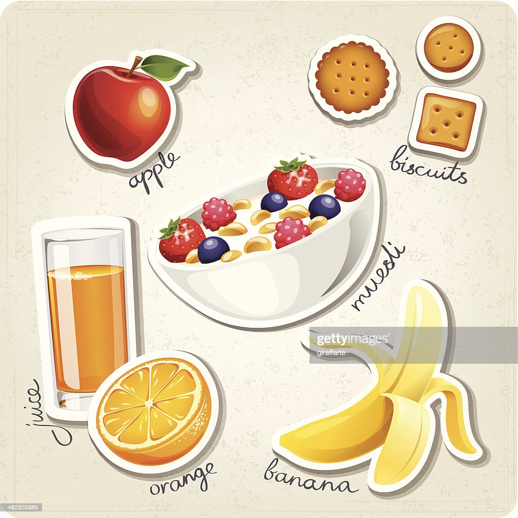 Vector set of stylized food icons.
