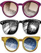Vector set of sunglaces. Trendy hipster sunglases