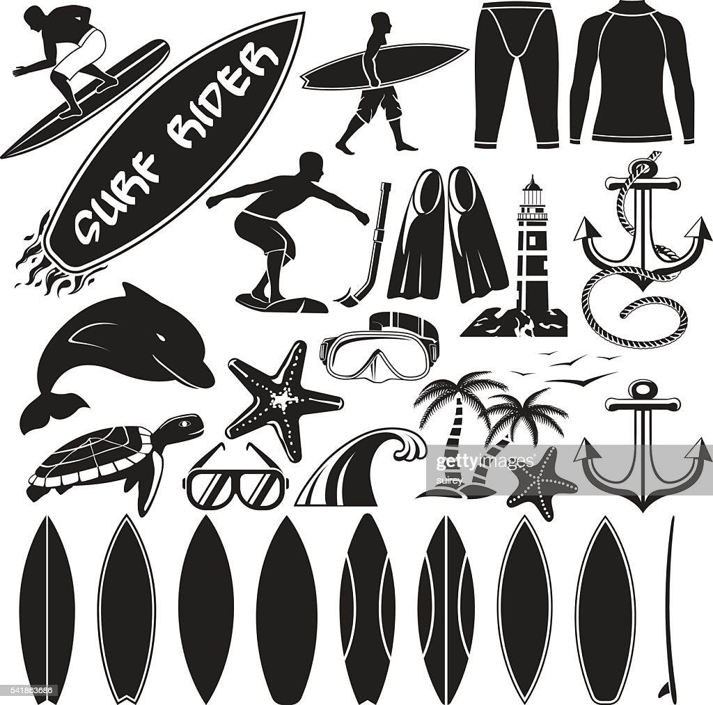Vector set of surfing design elements - surfers, surf board