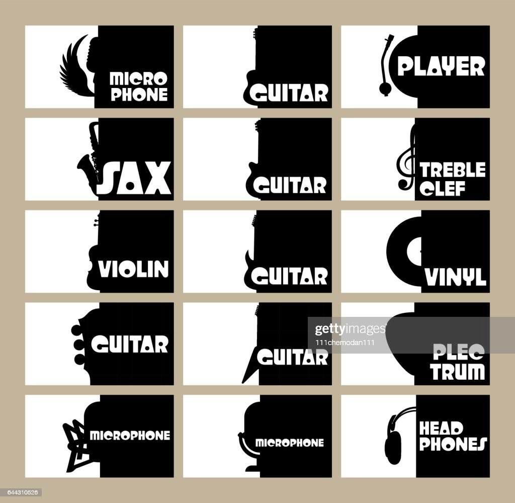 vector set of template for business cards on the theme of musical instruments, radio, disco