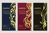 Vector set of templates packaging hair care cosmetics