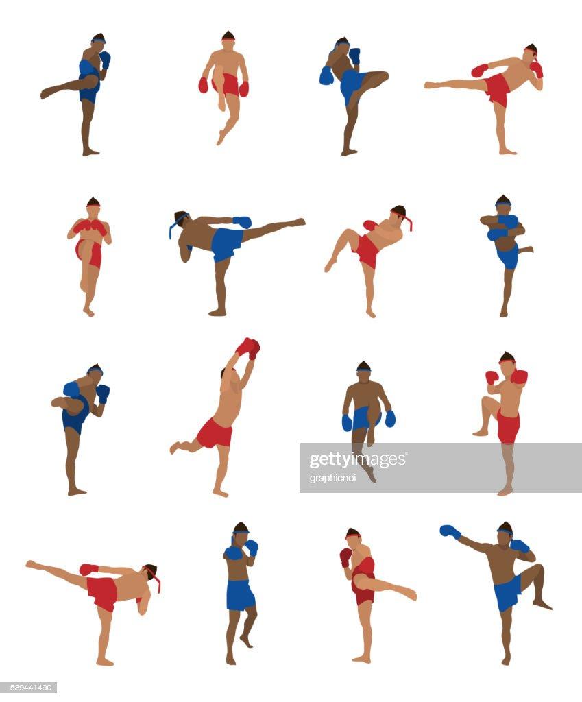 Vector set of thai boxing