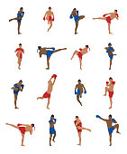 Vector set of thai boxing