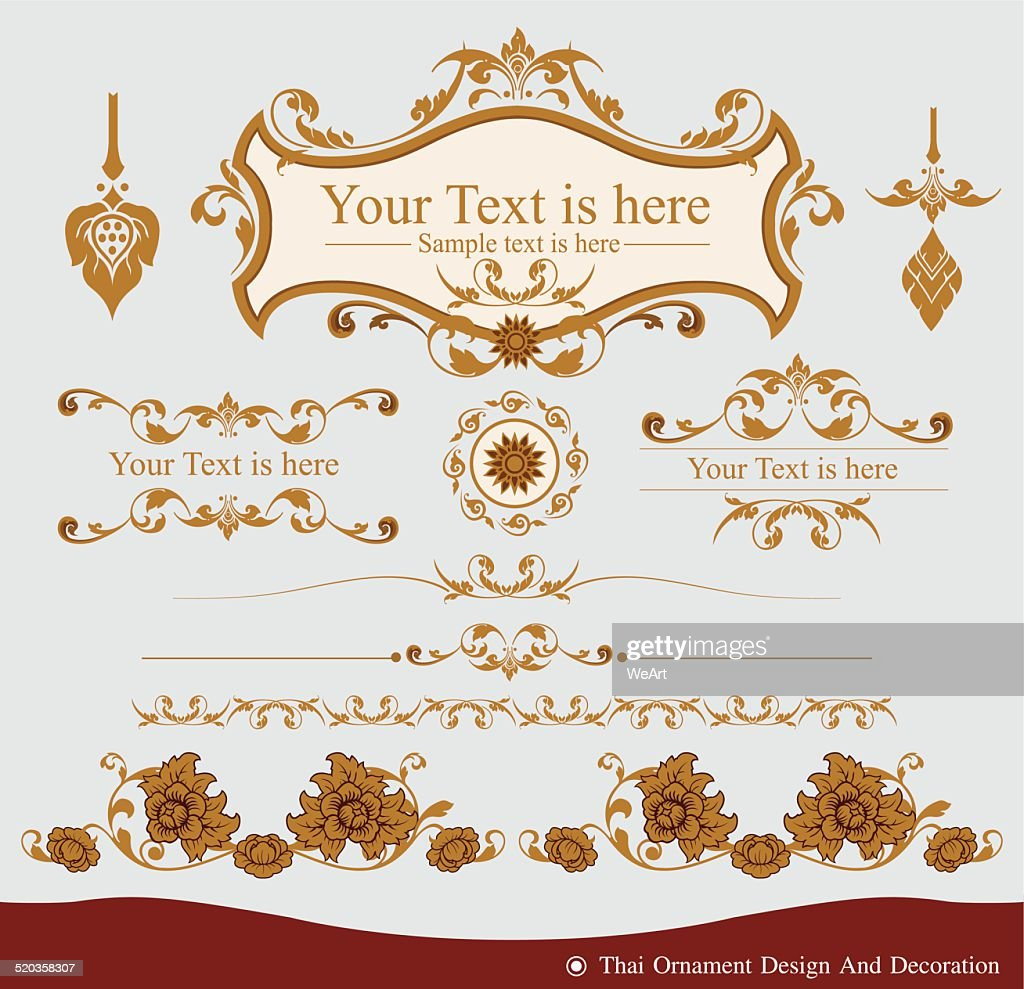 Vector set of Thai ornament design and decoration
