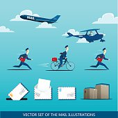 Vector set of the mail illustrations with postman, mail plane