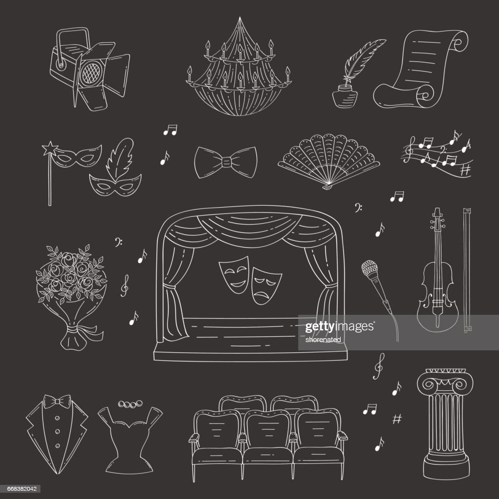 Vector set of theater icons hand drawn, doodle