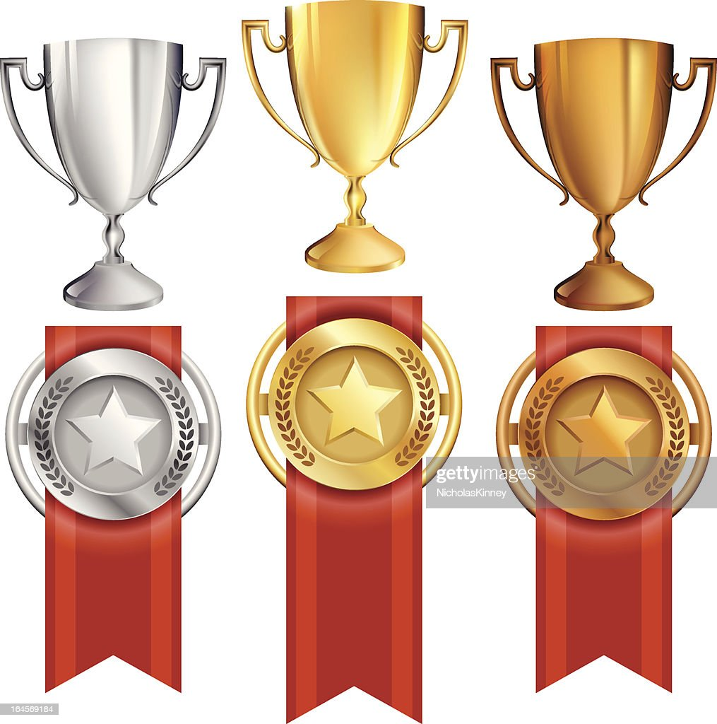 Vector set of three trophies and ribbon medals