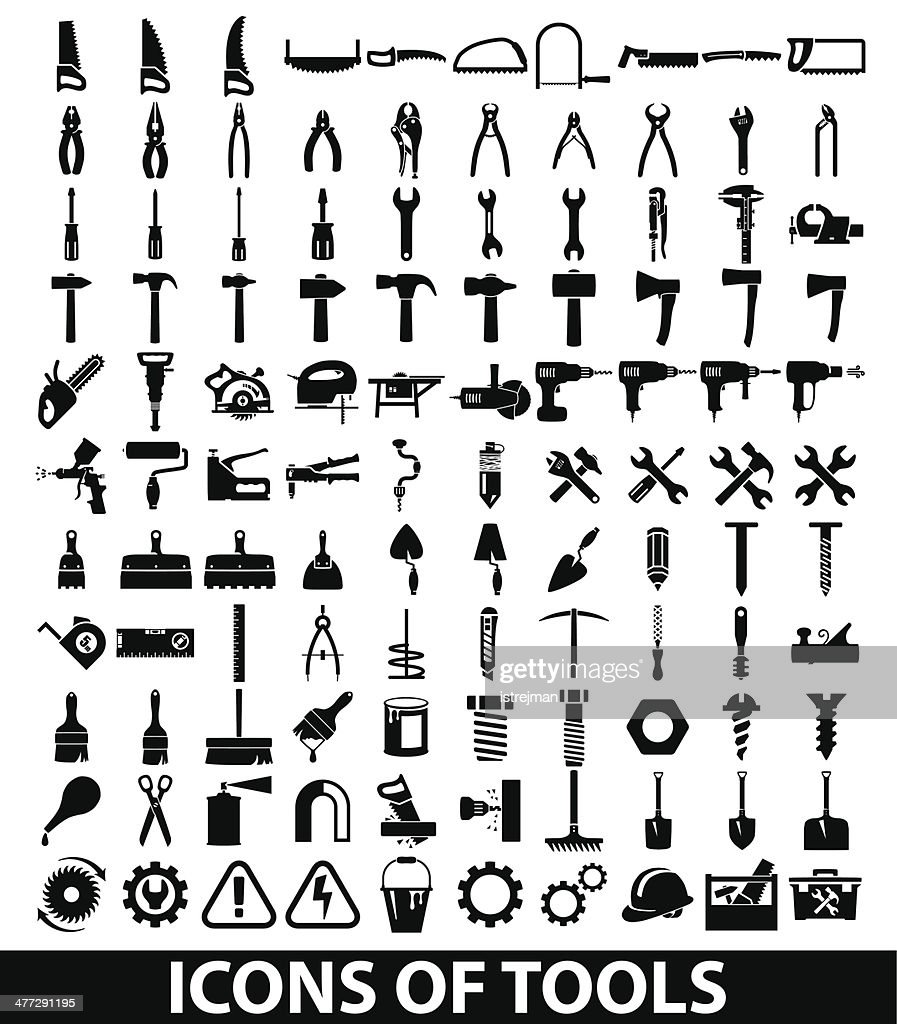 Vector set of tool icons on white background