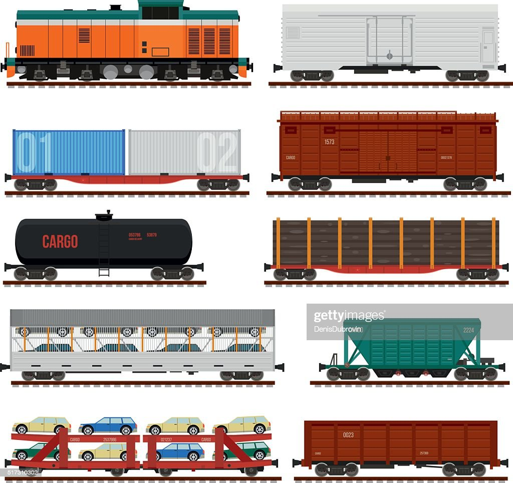 Vector set of Train Cargo Wagons, Tanks, Cars