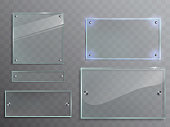 Vector set of transparent glass plates, panels with metal accessories