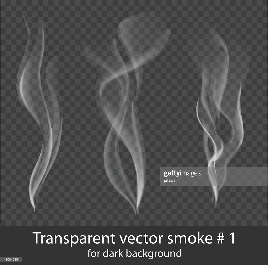 Vector set of transparent white cigarette smoke on dark background