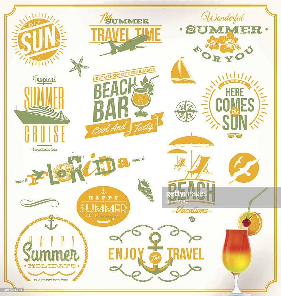 Vector set of travel and vacation lettering emblems