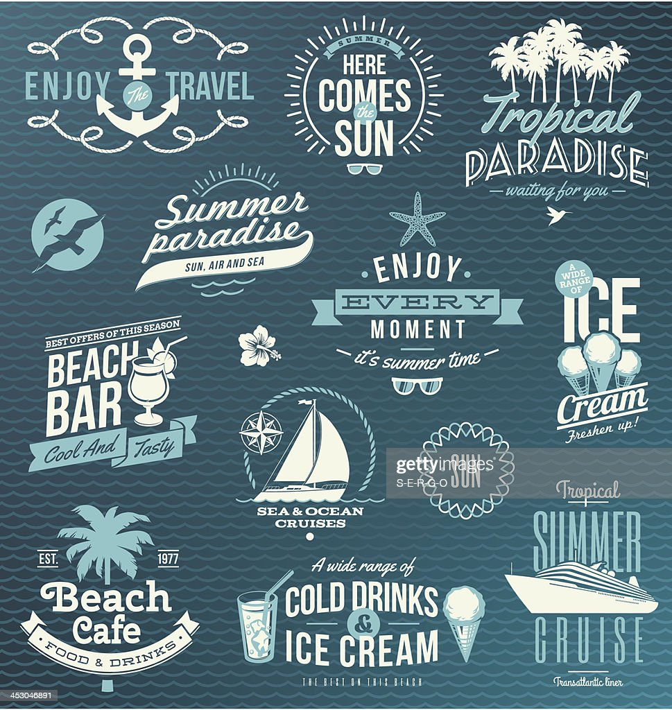 Vector set of travel, vacation emblems and symbols