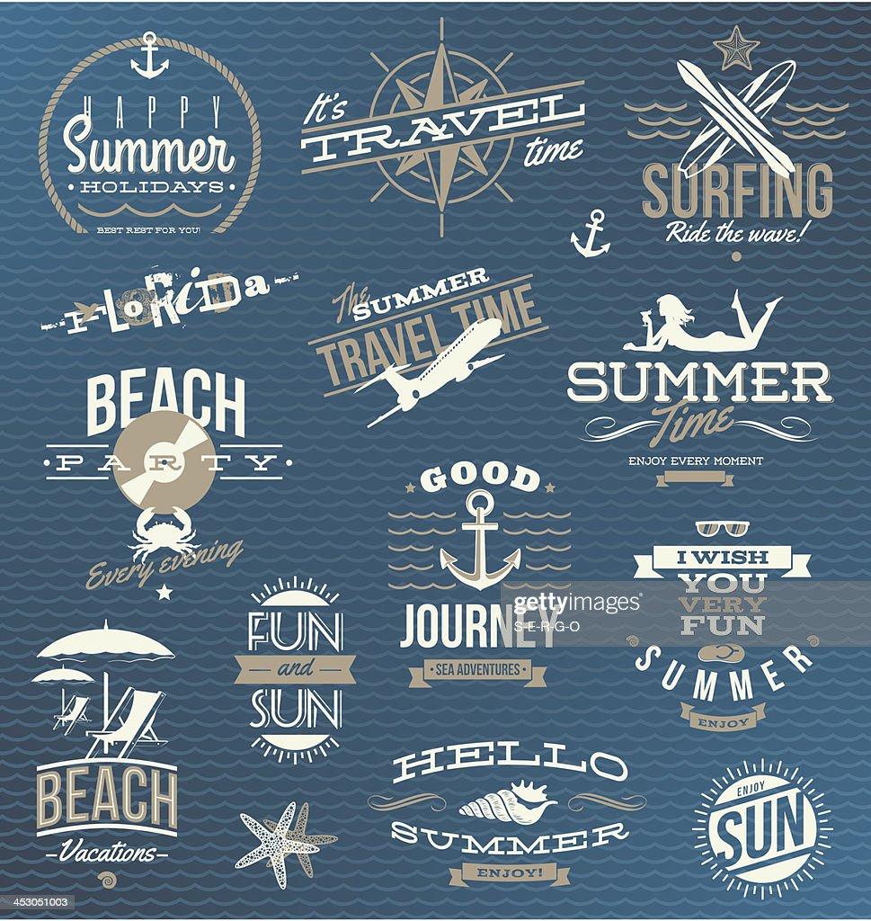 Vector set of travel, vacation emblems and symbols