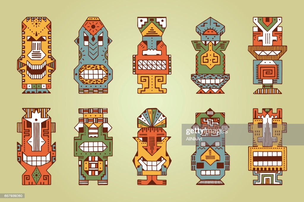Vector Set of Tribal Polynesian Tiki Masks. Hand Drawn Doodle Hawaiian Totem Idol Carved Masks statue. Religious or Ethnic design elements. Ritual symbols.