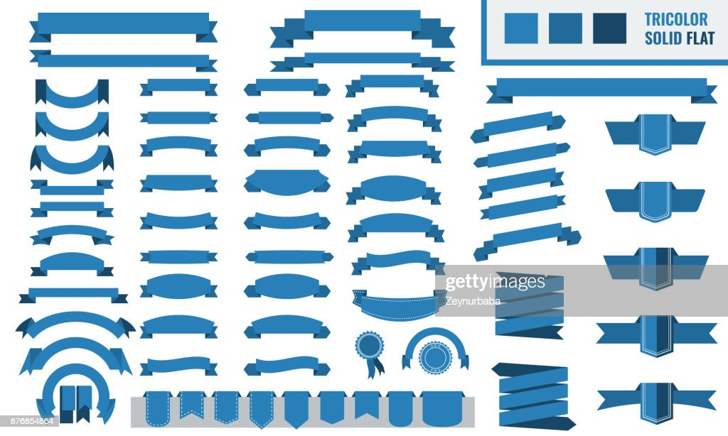 Vector set of tricolor, flat, long and short ribbon banners. Trendy Blue color.