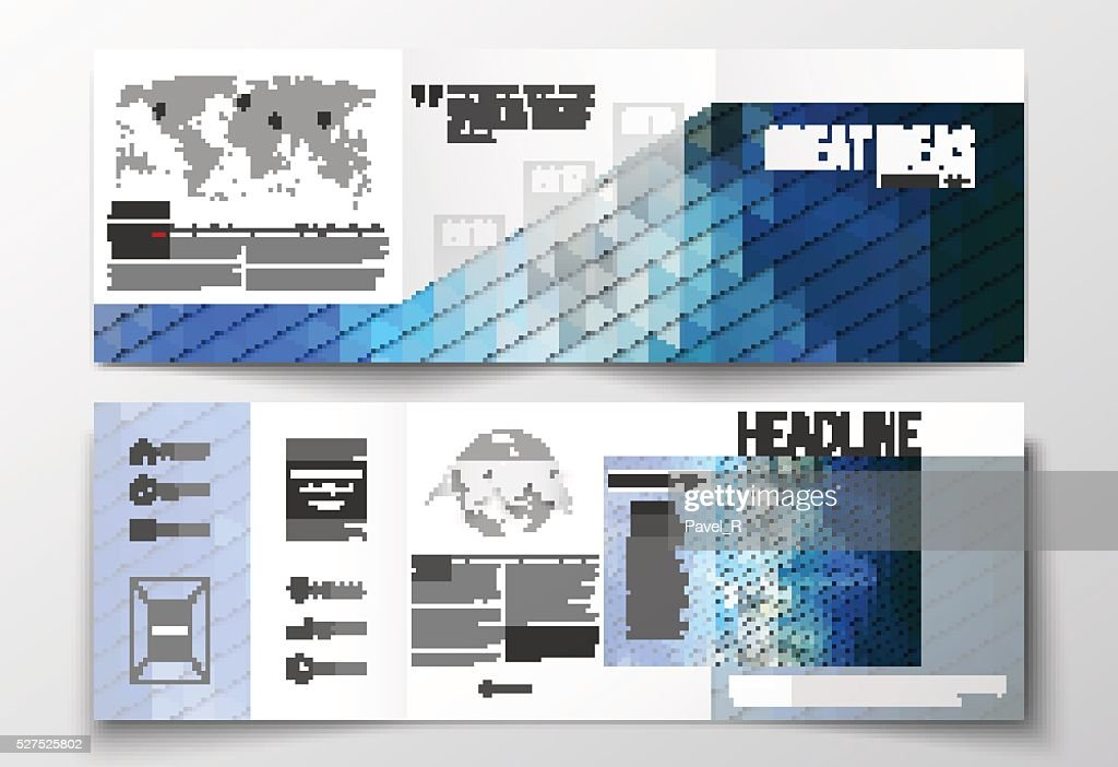 Vector set of tri-fold brochures, square design templates. Abstract