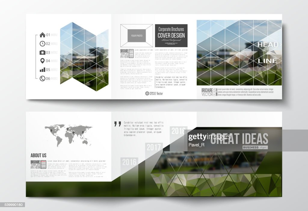 Vector set of tri-fold brochures, square design templates. Colorful