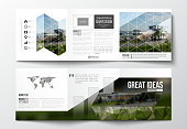 Vector set of tri-fold brochures, square design templates. Colorful