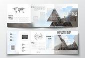 Vector set of tri-fold brochures, square design templates. Polygonal