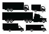 Vector set of trucks and trailers black and white color.