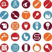 Vector set of twenty five icons of home repairing