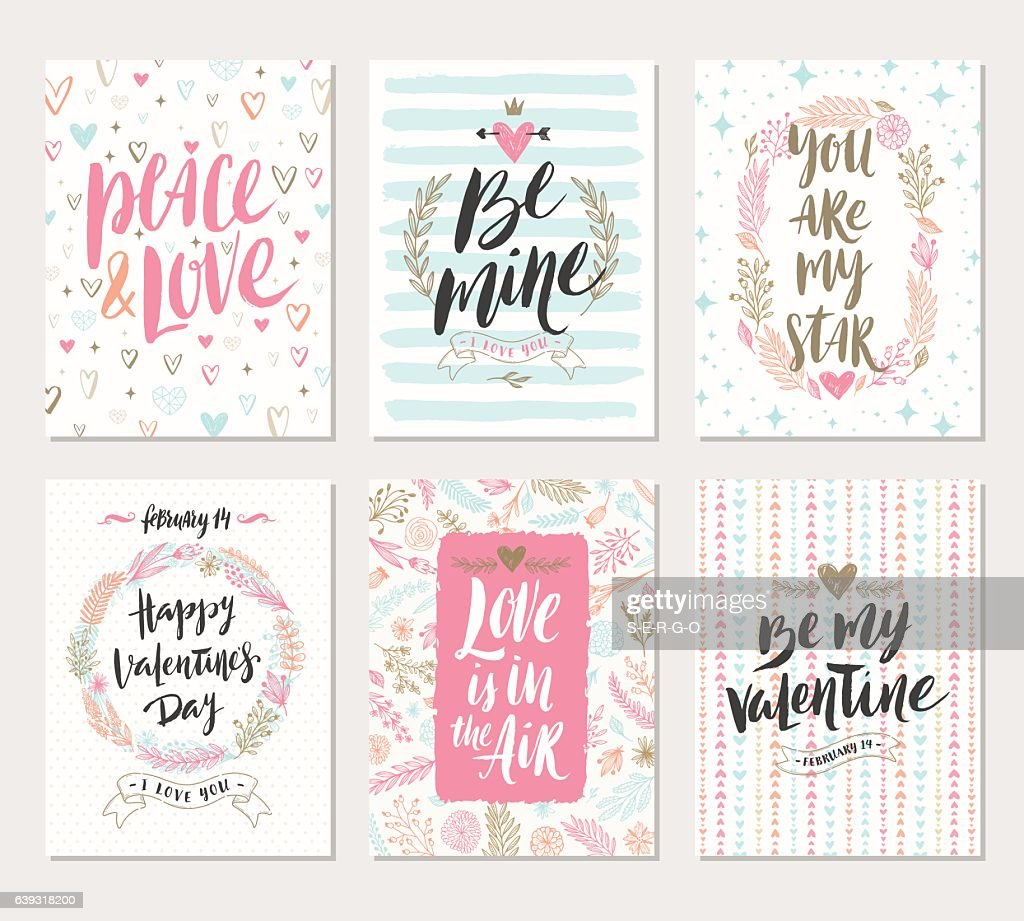 Vector set of Valentine's Day hand drawn greetings