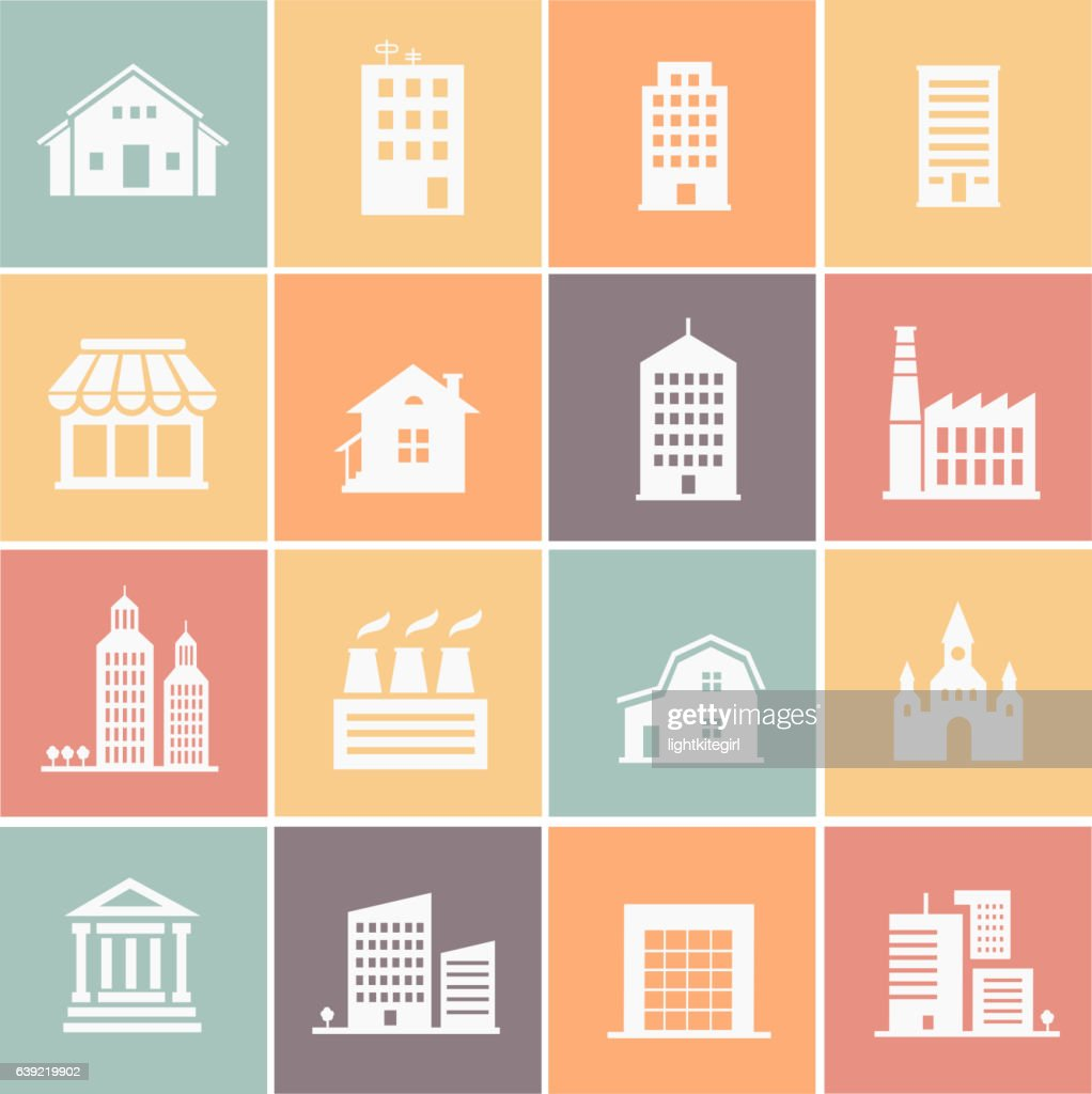 vector set of various buildings web icons