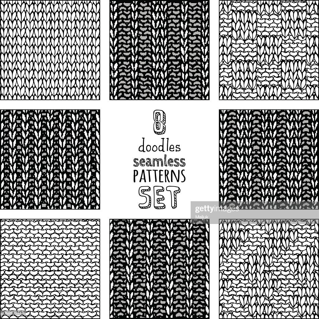 Vector set of various doodles stitch patterns.