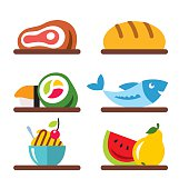 Vector Set of Various Food. Flat style colorful Cartoon illustration.