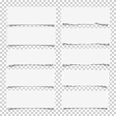 Vector set of various white note papers, design elements